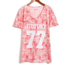 [grhjr418000108]Leisure Loose Fitting Number & Letter Print T-shirt