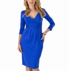 Big Size Ladies Office Work Dress Elegant  V-neck Long Sleeve Pleated Slim Dress 6 Colors Bodycon Package Hip Vestidos M0404