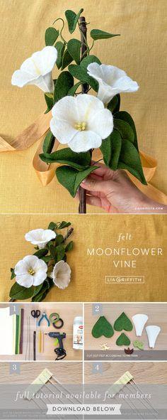 Paper Flower Tutorial, Paper Flowers Diy, Felt Flowers, Craft Patterns, Flower Patterns, Felt Crafts, Diy Crafts, Wedding Crafts, Shabby Chic Cottage