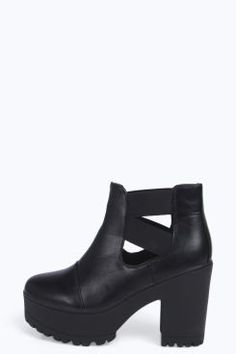 Rose Elastic Cross Strap Cleated Boot at boohoo.com