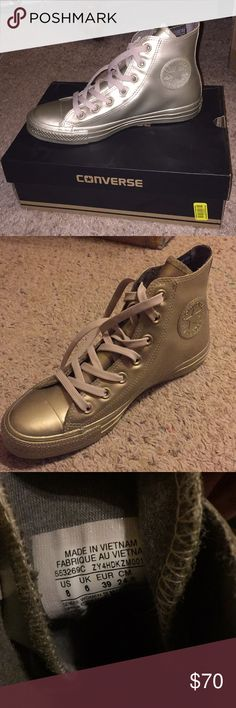 BRAND NEW CONVERSE Patent bronzey-silver Converse, never worn, still new in box. Nothing wrong with them I just don't know how to style them but I think they're so cute! Converse Shoes Sneakers