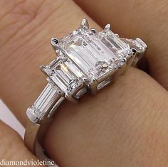 D Color!! GIA 1.85ct Estate Vintage Emerald Diamond 5 Stone Engagement Wedding Platinum Ring