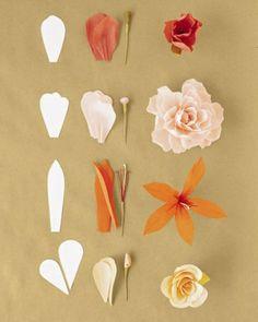 fleur en papier crepon, modeles de tige