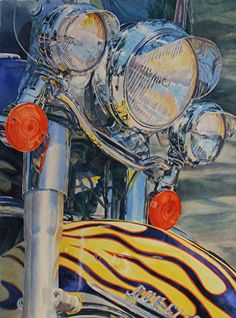 Lights, Chrome, Action! by Tammy Meeske Watercolor, framed ~ 30 x 24