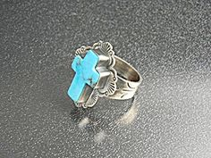 Sterling Silver Kingman Turquoise Cross Ring by Dean Sandoval