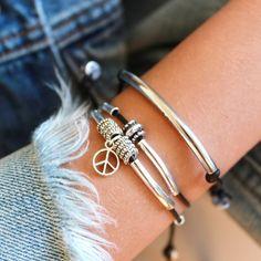 Lizzy James Stacked Joy Bracelet Set with Power and Peace Bracelets... (23.370 HUF) ❤ liked on Polyvore featuring jewelry, bracelets, stacked bracelet sets, lizzy james, lizzy james jewelry, stackers jewellery and peace jewelry
