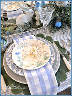 Easter Bunny Blues Tablescape - Corner of Plaid and Paisley images bunnies Easter Dinner, Easter Brunch, Easter Party, Easter Table Settings, Easter Table Decorations, Easter Decor, Setting Table, Easter Centerpiece, Easter Ideas