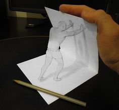 Italian illustrator Alessandro Diddi erases the line between fiction and reality and makes his 3D drawings leap out of the sheet of paper. Besides light and shadow effects, Alessandro also uses various props, his own hands and even the very pencil he draws with to make his anamorphic drawings come alive when viewed from a certain angle.