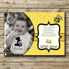 Bumble Bee Thank You Card Birthday Photo by designingforpeanuts, $10.00