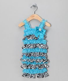 Take a look at this Little Diva Turquoise Zebra Bling Bow Lace Romper - Infant by Little Diva on #zulily today!