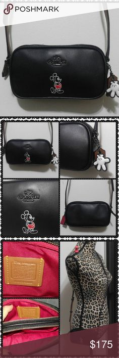 """Coach Disney Mickey Mouse Crossbody NWOT Limited Edition Saddle black Coach Disney Mickey  Mouse Crossbody. Two zipper compartments and the cutest hang tags! One is a white glove and other is a lil' luggage tag!! Glove tanned calf leather- Adjustable strap and dark pewter hardware.  Limited Ed and hard to find. Its 6.5"""" wide and 4"""" tall  this is a small bag please note the measurements. Also avail in saddle brown (also posted)   No holds no trades Bags Crossbody Bags"""
