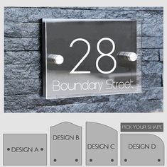 Superbe Modern Outdoor House Number Sign Plaque Street Designer Door Aluminium  Plate Glass Effect Acrylic Stand Off