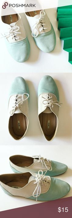 UO | Kimchi Blue • Lace-Up Oxfords UO | Kimchi Blue • Lace-Up Oxfords ⚡︎ DETAILS:  ⌁ BRAND: kimchi blue ⌁  FEATURES: lace up front; leather is very delicate, so the shoe is very flexible  ⌁ SIZE: 8  ⌁ COLOR: white / mint ⌁ CONDITION: used; few dirt scuffs on heels, toe stubs, & soles; leather is a bit worn - check pics  ⌁ CONTENT: leather upper ⌁ CARE: do not get wet 