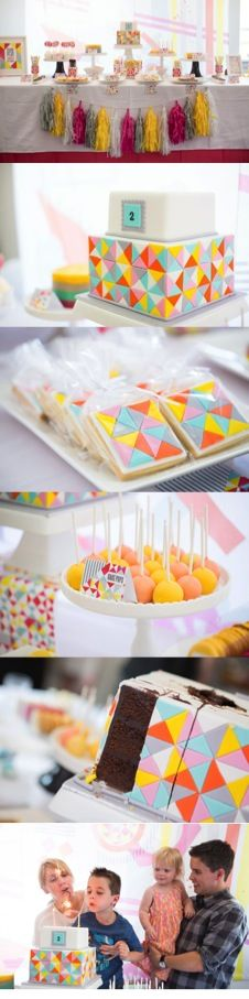 Everything designed from the #geometric pattern and #colours given by the client - who styled this beautiful table herself!  #SweetcheeksMelb #cake #Cookies #Cakepops #Desserttable