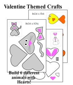 valentine craft for kids animals | Valentines Craft (Heart Animals) - Christian Homeschool Publishing ...