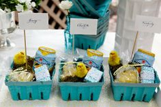 I plan on doing something somewhat similar to this with my teal berry baskets for Easter brunch at my house!  There are SO many fun things you could do with them for a party, Easter gift, etc.