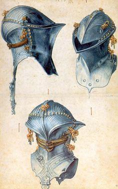 'drei studien von einem `helmet`', stift von Albrecht Durer (1471-1528, Germany)