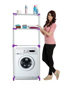 Space Saver - Purple  Color. To make every thing you need just a step away while washing clothes.