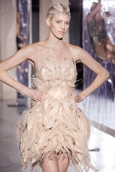 3D Printed Fashion - dramatic sculptural dress with elaborate three-dimensional surface textures; wearable art // Biopiracy, Iris van Herpen 2014