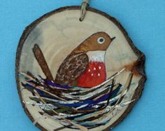 Bird art, mixed media robin on birch tree slice, wood, watercolors, paper, found item, nature, round, bird, painting, brown and orange, nest