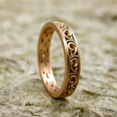 Scroll Wedding Ring in Rose Gold with Matte Finish Size 6 Wedding Rings Rose Gold, Wedding Jewelry, Wedding Bands, Gold Rings, Gold Wedding, Bijoux Or Rose, Style Vintage, Modern Jewelry, Ring Designs