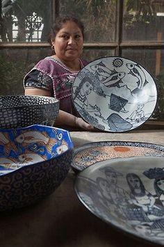 Ceramica CUERAVAPERI, Tzintzuntzan, Michoacan, Mexico.  I also purchased wonderful crafts made from straw; a favorite is the replica of the cathedral in Guadalajara.