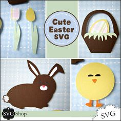 Say Happy Easter with these cute SVG elements. Use them on cards, decorating, party decor, and scrapbook pages.  6 Designs including: a bunny, a chick, two tulips, a double-layer egg, and a basket.