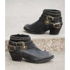 Corral Studded Cowboy Boot ($165) ❤ liked on Polyvore featuring shoes, boots, black, side zip boots, round toe cowgirl boots, short boots, round toe cowboy boots and black boots