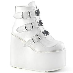 White Ankle Boots, Platform Ankle Boots, Leather Ankle Boots, Shoe Boots, White Platform Shoes, White Pumps, Platform Wedge, Ankle Booties, Dr Shoes