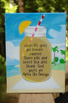 When Life Gives You Lemons Canvas by CustomCamvas on Etsy, $19.99~Changed to Delta Gamma, of course ;)
