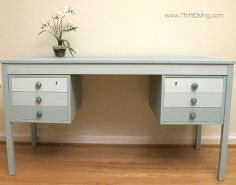 the makeover of a dumpster desk, chalk paint, painted furniture, This desk had been found next to a dumpster until I saved it and gave it this face lift I used Annie Sloan Duck Egg mixed with Pure White to produce the ombre effect on the drawers