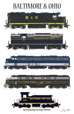 Baltimore & Ohio Locomotives Railroad Poster by Andy Fletcher signed Rail Train, Train Art, Train Posters, Railway Posters, Baltimore And Ohio Railroad, Train Drawing, Railroad Companies, Rail Transport, Railroad Photography