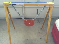 """AR500 Target stand with 10"""" gong that is 3/8"""" thick.   Cost was very minimal.  Saw horse from lowes $29.99 Bolts and washers $7 3/8"""" thick chain about 18"""" length $13 10"""" gong $30"""