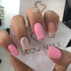 Glow Nails, Shiny Nails, Dope Nails, Fancy Nails, Pretty Nails, Pink Manicure, Pink Nail Art, French Acrylic Nails, Cute Acrylic Nails
