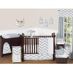 Sweet Jojo Designs Chevron Crib Bedding Collection in Grey and White - BedBathandBeyond.com