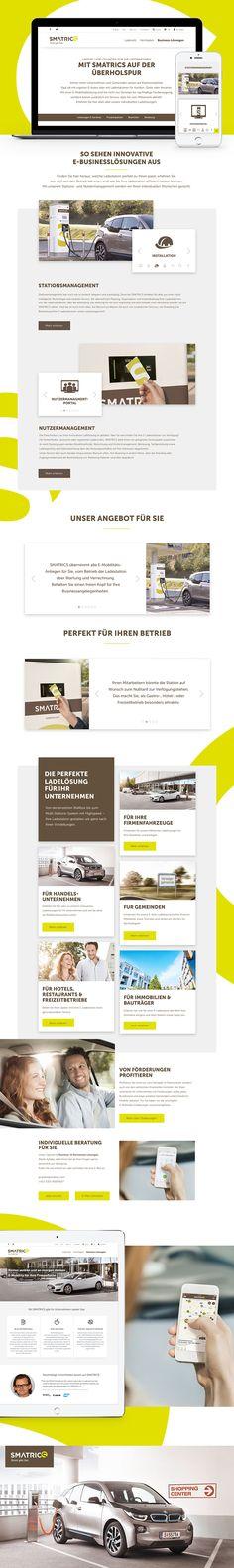 Konzept, Design, UX Gestaltung, SEO-Optimierung und Trackingkonzept für SMATRICS. Website Designs, Website, Design Websites, Website Layout, Web Design, Design Web