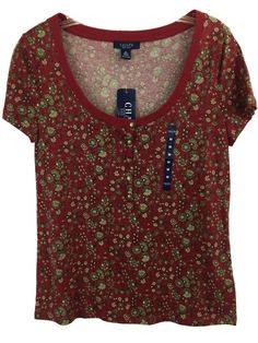 Chaps Women's M Red Floral #Henley Top Cotton Short Sleeve Scoop Neck Pullover #Chaps #KnitTop