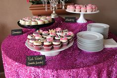 Black & white stripes, gold & hot pink accents. Hot pink sequin linen. Dessert bar. Bridal shower Kate Spade inspired. {So Eventful wedding & events}