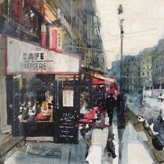 Cafe near Place de la Madeleine, 20.1.14 by Julian Sutherland-Beatson - Part of my new 'At Home and Abroad'