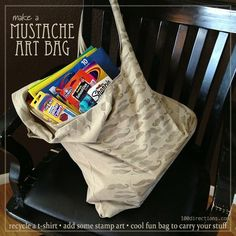 Mustache recycled t-shirt bag by Jen Goode