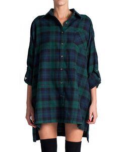 Plaid Flannel Shirt Dress - Green