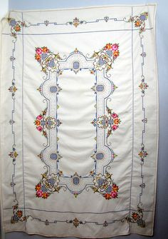 Large Embroidered Cross Stitch Ivory White Linen Tablecloth