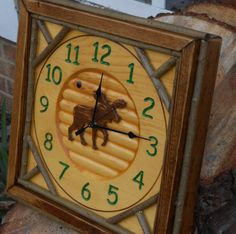 Rustic Twig Carved Moose Clock log cabin decor by CarvedByHeart