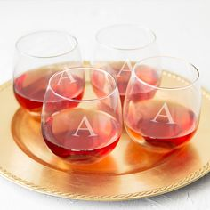 Personalized Stemless Red Wine Glasses (Set of 4) (