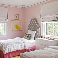 Angie Hranowski - girl's rooms - twin beds, twin girl's beds, pink walls, pink wall color, pale pink walls, pale pink wall color, hardwood f...