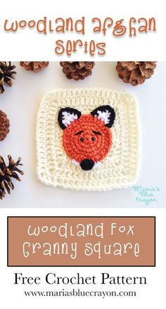Woodland Fox Granny Square Woodland Afghan Series Free Crochet Pattern Fox Applique and Granny Square Woodland Themed Afghan Patterns, Crochet Blanket Patterns, Baby Blanket Crochet, Crochet Baby, Free Crochet, Crochet Fox Pattern Free, Simple Crochet, Crochet Pillow, Crochet Blankets