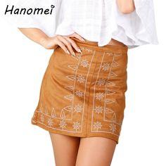 Boho Mini Suede Skirts Womens Embroidery Leather Skirt 2017 Summer High Waist Saia Vintage Short Faldas Retro Jupe Femme C102