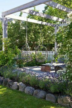Garden Landscaping Backyard patio pergola with swings.Garden Landscaping Backyard patio pergola with swings Pergola Swing, Backyard Pergola, Backyard Ideas, Landscaping Ideas, Pergola Kits, Backyard Seating, Pergola Plans, Hammock Swing, Patio Plans