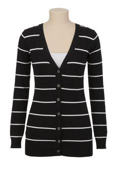 Long Sleeve Striped Grandpa Cardigan - maurices.com