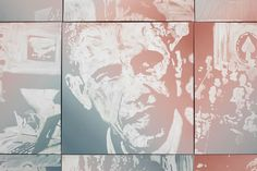 """Installation detail from """"The Obama Paintings"""" by Rob Pruitt at MOCAD"""